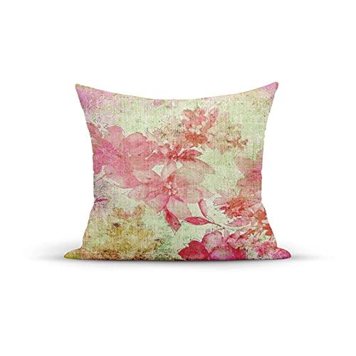 Funda de cojín decorativa con diseño floral con un fondo de fecha retro Kitsch con estampado artesanal para dormitorio, sofá, sala de estar, 45,7 x 45,7 cm