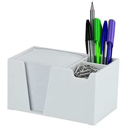 Acrimet Desktop Organizer Pencil Paper Clip Caddy Holder (Plastic) (with Paper) (White Color)