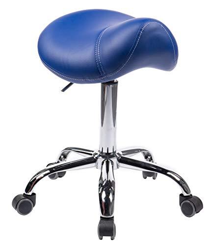 1stuff® Sattelhocker Sattelstuhl MULY für rückengerechtes Sitzen - Sitzhöhe bis ca. 74cm - Rollhocker Arzthocker Arbeitshocker Praxishocker Drehhocker (blau)