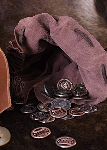 Geldbeutel mit Hornknopf, rotbraun Lederbeutel, groß Ledertasche – Wikinger – LARP – Mittelalter - 6