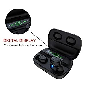 True Wireless Earbuds - 120 Hours Total - Bluetooth Earphones V5.0, TWS Mini Earbuds Stereo Headphones in-Ear Pods Built-in Mic with Deep Bass for Sport, Gym, with Charging Case (Black)