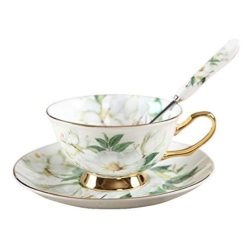 Taza de café Set de taza de café de porcelana hueso de estilo europeo Vintage Copa de té de la taza de té de la vendimia Cuchara de la cucharada del regalo de lujo para la tienda de la cafetería