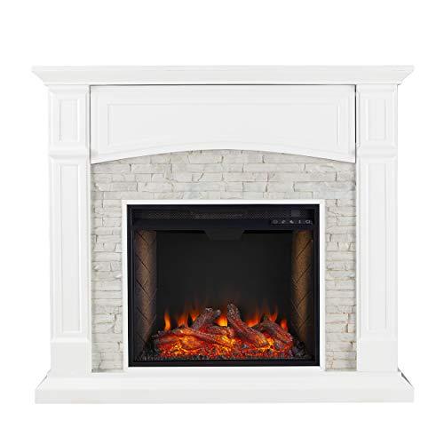 SEI Furniture Seneca Faux Stacked Stone Alexa-Enabled Electric Hidden Media Shelf Fireplace, Crisp White