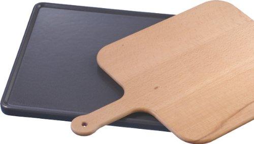 Siemens Keramikbackstein inkl. Holzschieber / Für Backöfen / Ideal für das Backen von Pizza, Brot, Fladenbrot oder auch Tiefkühlgerichte / Hitze beständig / 37,5 x 33 x 2cm