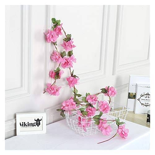 lliang Künstliche Blumen 2,3 M Künstliche Kirsche Blossom Blumen Hochzeit Girlande Ivy Dekoration Gefälschte Seide Blumen Reben für Partei Bogen Home Decor String (Farbe : Tief Rosa)