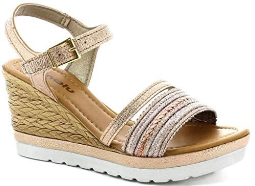 inblu Damen Skalierung Sandalen Mod. FG-12 Keilabsatz Kupfer, Rot - Kupferfarben - Größe: 39 EU