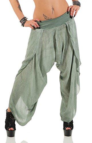 Danaest Damen Harem Aladin Pump Hose Hosenrock, Einheitsgröße für Größen 36-42, Oliv