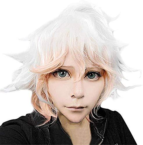 Ani·Lnc Komaeda Nagito Perücke Danganronpa Cosplay Perücke Anime Cosplay Haar für Halloween-Party