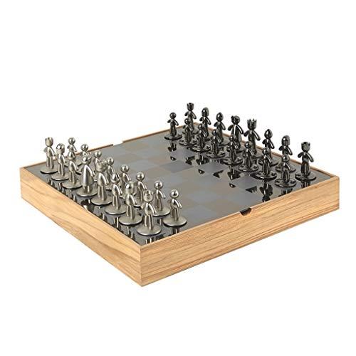 ajedrez Juego de ajedrez exquisito creativo Tablero de ajedrez de metal de ajedrez de madera con pieza de ajedrez Tablero de ajedrez de la tragamonedas de ajedrez Regalo de juguete educativo juego de