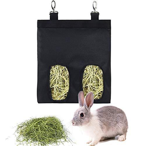 YUIP Meerschweinchen-Heutasche,Kaninchen-Heu-Futterstation,Heutasche zum Aufhängen, Haustier-Futterspender Aufbewahrungstasche für Kaninchen,Meerschweinchen,Chinchilla, Hamster, kleine Tiere, Schwarz
