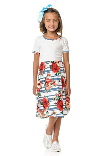 Pastel by Vivienne Women's Contrast Binding and Skirt Midi Dress X-Large Floral Denim Striped