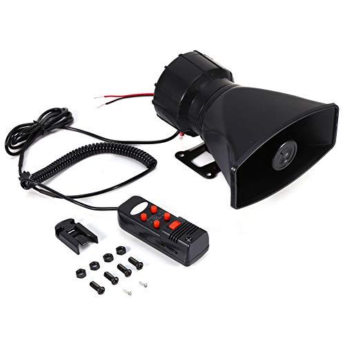 Hlyjoon Air Horn Siren Advertencia de alarma para coche Van Truck 12V 300db Loud PA MIC Megáfono Altavoz Tono de 5 sonidos Hooter/Ambulancia/Tráfico/Policía/Alarma de incendio