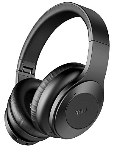Tribit QuietPlus Active Noise Cancelling Headphones – 5.0 Bluetooth Headphones with MIC 30 Hrs Playtime CVC8.0 Hi-Fi Sound Type-C Foldable Wireless Headphones Over Ear for Airplane Travel Work, Black