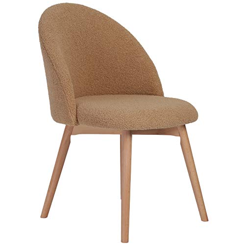 JinMueble Teddy Fluffy Chair Modern Mid-Back Beech Wood Feet Upholstered Office Chair with High Elastic Sponge Accent Home Vanity Chair with Smoothly Silent Wheels for Bedroom (Brown 1PC)