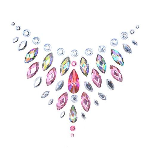 KESYOO Crystal Breast Pasties Spring Autumn Acrylic Diamonds Sticking Art Carnival Party Pegatinas de Mama con Pegamento no txico para la Espalda (Rosa)