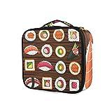 Almacenamiento Viaje de dibujos animados Mariscos Sushi Señoras Bolsa de aseo portátil Herramientas Estuche de tren cosmético Bolsa de maquillaje