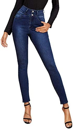 SweatyRocks Women s Casual Button High Rise Skinny Denim Jeans Navy L product image
