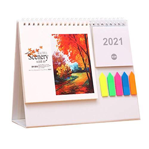 Calendario Sobremesa Oficina 2021 Chinos Año Nuevo 2021 Calendarios Sobre Escritorio 2021 para el Año Lunar del Buey,21.5x8x18cm,Cuadro de Paisaje de Pintura China Calendario Mensual Sobremesa para E