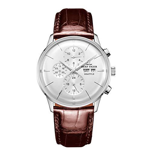 REEF TIGER Herren Uhr analog Automatik mit Leder Armband RGA1699-YWS