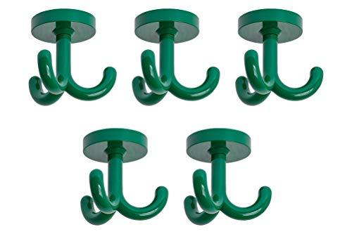 Gedotec Drehhaken Kunststoff Dreifachhaken Unterbau Kleiderhaken - Kita | RAL 6029 minz-grün | Haken für Decken Garderobe Kindergarten | Garderobenhaken drehbar | 5 Stück - Drehhaken zum Schrauben