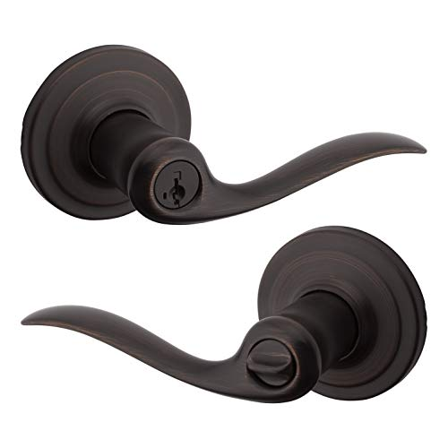Kwikset Tustin Keyed Entry Lever with Microban Antimicrobial Protection featuring SmartKey Security in Venetian Bronze