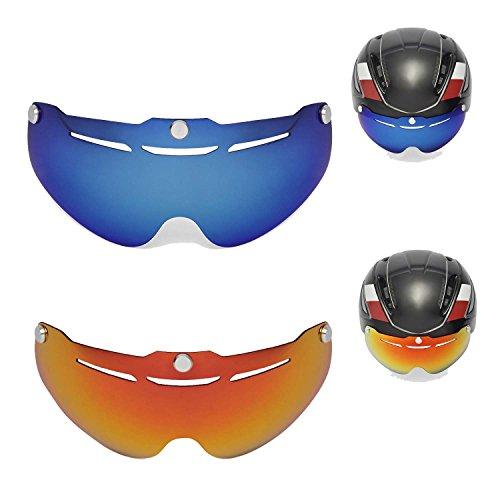Walleva Polarisiertes Feuer Rot + Eisblau Ersatzlinsen für Giro Air Attack Helmet