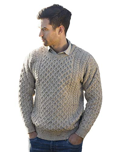 Aran Crafts Unisex Irish Cable Knitted Wool Crew Neck Sweater (C1949-MED-OAT) Oatmeal
