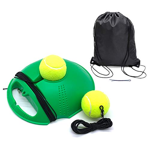 Solo Tennis Trainer | Tennis Buddy | Tennis Drills Equipment | Tennis Backboard and Rebounder | Tether Tennis Rebound Ball with Extra Ball and String and Storage Bags (Green)