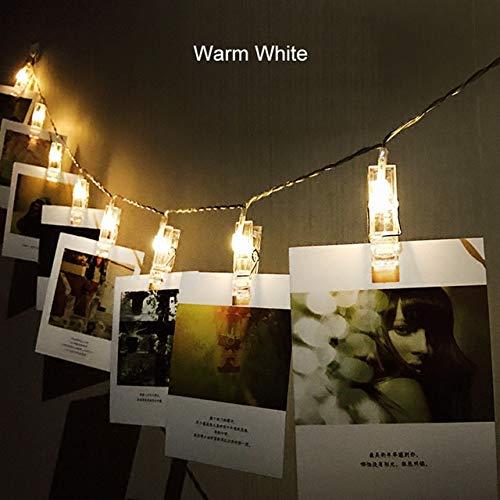 1.5M 2M 3M Photo Clip Holder Luces de Cadena LED para Navidad Fiesta de año Nuevo Boda Decoración del hogar Luces de Hadas Batería - Blanco cálido, 3M 30LEDs