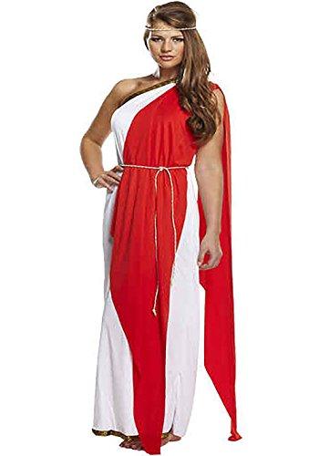 Islander Fashions Mujeres griegas Romanas Rojo Lady Costume Ladies Fancy Fiesta de Noche de gallina Desgaste Vestido un tamao