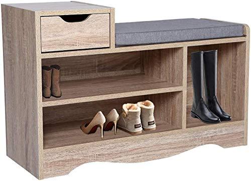Xicaimen Banco de Zapatos de Madera para Almacenamiento de Zapatos, Organizador de Armario de Pasillo con cojín de Asiento para Entrada, Pasillo y Sala de Estar (Color Madera 2)