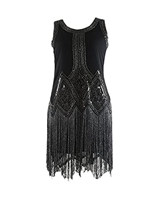 Syne Sun Women's 1920s Boat Neck Beaded Sequin Art Deco Gatsby Inspired Flapper Dress