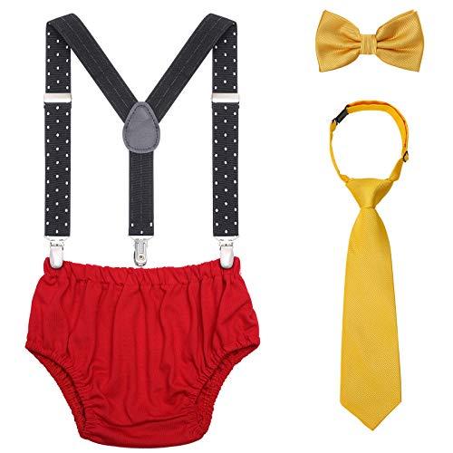 Atuendo para bebé de 1 o 2 años, para cumpleaños, juego con tirantes ajustables, calzoncillo y pajarita para bebé, para sesión de fotos de cumpleaños Amarillo, azul marino y rojo. Talla única