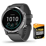 Garmin 010-02174-01 Vivoactive 4 Smartwatch Shadow Gray/Stainless Bundle with Support Extension