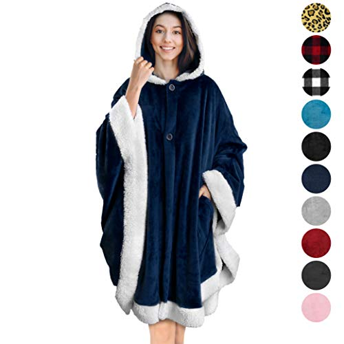 PAVILIA Angel Wrap Hooded Blanket | Poncho Blanket Wrap with Soft Sherpa Fleece | Plush Warm Wearable Throw Cape with Pockets for Women Gift Navy