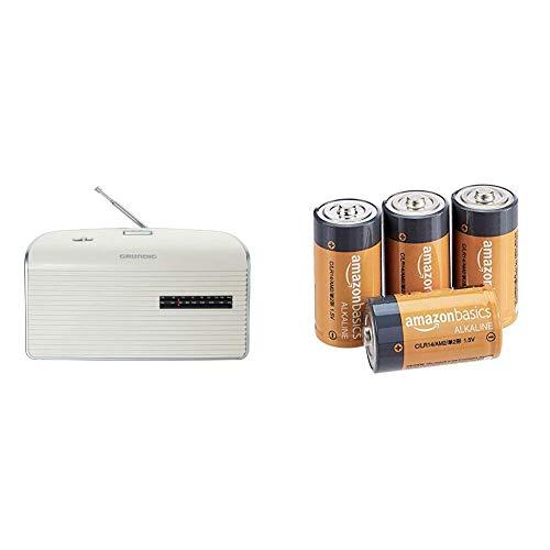 Grundig Music 60, empfangsstarkes Radio im modernen Design, White/Silver & AmazonBasics - Everyday Alkalibatterien, Typ C, 4 Stück