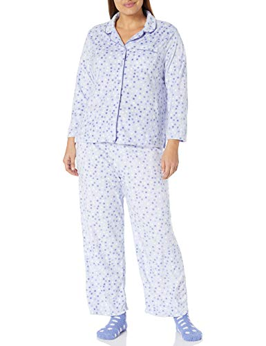Karen Neuburger Women's Plus Size Long Sleeve Minky Fleece Pajama Set PJ, dot peri W/Sock, 3X