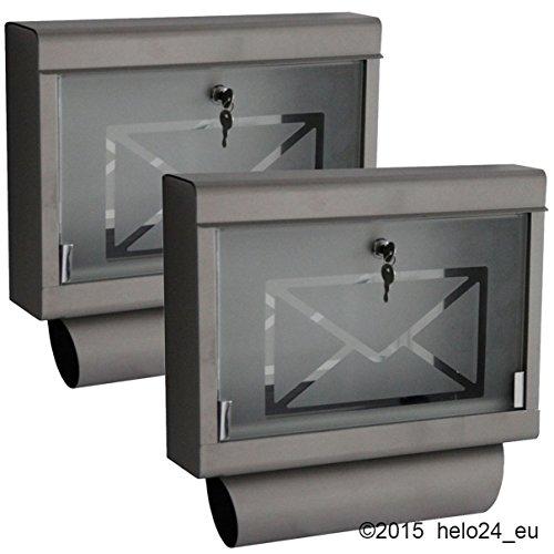 Helo 2 x Briefkasten inkl. Zeitungsrolle aus Edelstahl mit Glasfront P1