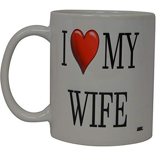 La mejor taza de café divertida Amo a mi esposa Corazón Novedad Taza Esposas Gran idea de regalo para mamá Día de la madre Mamá Abuela Esposa Amante de la novia o padre