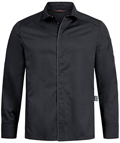 GREIFF Herren Kochhemd mit Jerseyeinsatz Cuisine Premium 5585 Regular Fit, Farbe: Schwarz, Größe: M