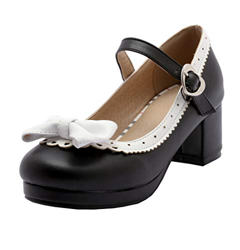 Mary Jane Damen Schuhe Rockabilly Pumps mit Blockabsatz und Schleife Cosplay Lolita Retro Schuhe 5cm Absatz(Schwarz,41)