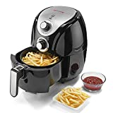 LifelongHealthyFryAir Fryer 1200W with 2.5L Cooking Pan Capacity, Timer Selection and Fully Adjustable Temperature Control, (Black/Silver)