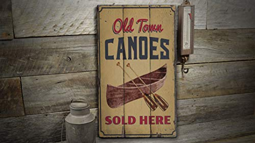 Jeartyca Old Town Canoe Sign, River Canoeing Tours, Canoe Tour Lovers, Wood Lake Decor, Olden Wood Sign - Rustic Plaque with Saying Vintage Wooden Decoration -  JYMP0716-007