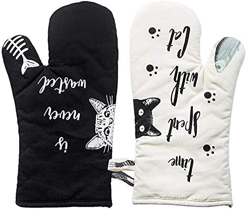 Hospaop Ofenhandschuhe, Ofenhandschuhe zum Backen, Baumwolle Backhandschuhe Cat mit Schwarze Weiß Katze(32 cm -2er Set)