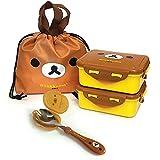 Rilakkuma Lunch Box with Bag for Kids Toddler Children Girl Boy Cute Lunch Box Set (Rilakkuma)