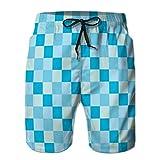 jiilwkie Pantalones Cortos para Hombre, bañadores, Pantalones Casuales, ajedrez Popular Azul Cielo mar Color Tono Checker L