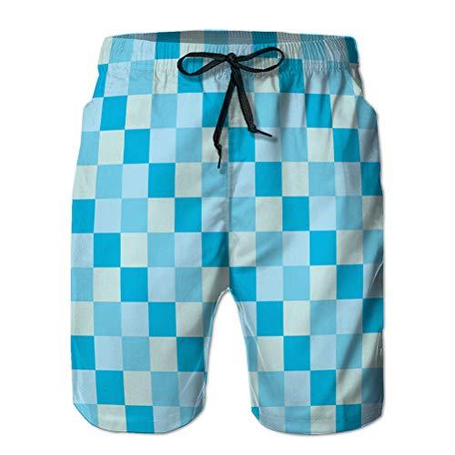LJKHas232 Herren Quick Dry Boardshort Swim Beach Shorts Blaue Himmel Meer Farbe Ton Schachbrett Schach L