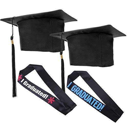 Liwein 2 pz Sombrero de graduación Ajustable Birrete graduacion Adulto+2 Banda Graduación per Celebrar el Fin de Estudios en Universitario(Borla Negro)