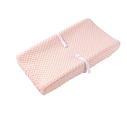 """Baby Changing Pad Cover, Super Soft Minky Dot Diaper Changing Table Covers for Baby Girls and Boys, Ultra Comfortable, Safe for Babies, Fit 32""""/34'' x 16"""" Pad (Coral Pink)"""
