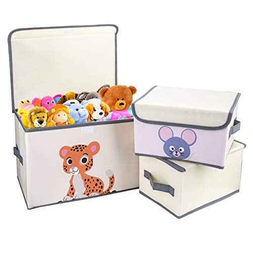 DIMJ 3 Pack Kids Storage Box Fabric Animal Toy Box Foldable Cartoon Toy Organizer Box with Lid and Reinforce Handle Toy Container for Books, Closet, Bedroom, Home, Beige